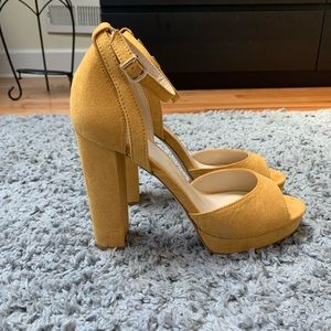 Forever 21 FAUX SUEDE MUSTARD HEELS